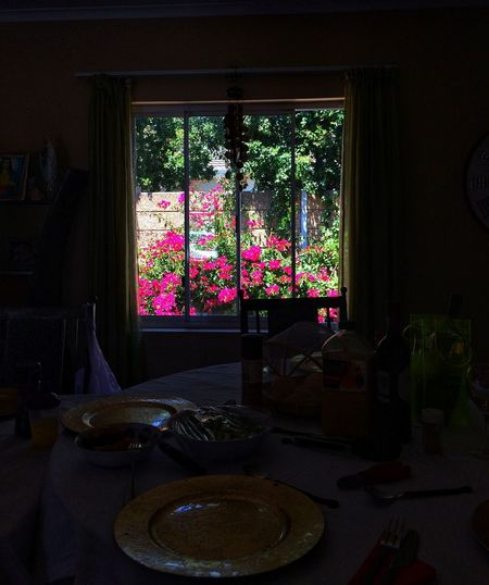 Sunday lunches Dining Room Sunlight And Shadows Plates Laid Table Outside Garden Outside My Window Shadows & Light Shadows Sunday Lunch Indoors  Window No People Table Home Interior Architecture Day Flower