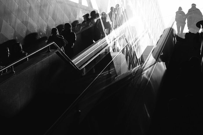 Black And White City Life Decadence Human Indoors  Light Light And Shadow Mode Of Transport People Soceity Street Subway Transportation Underground Urban Blackandwhite