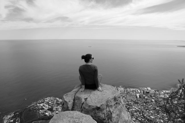 Horizon Over Water Lions Head Southafrica Sea Water Nature Sky Looking At View Capetown Black And White Friday