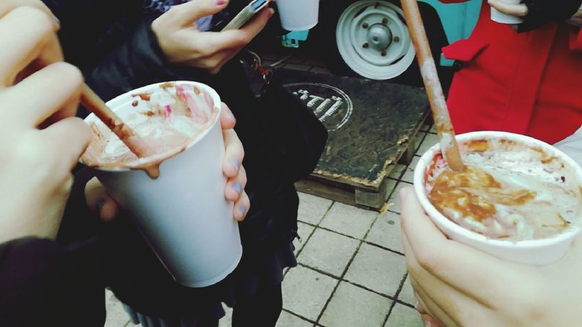 Drinking Hot Chocolate Winter Sport Human Hand Food And Drink Day Outdoors People Hot Drink Cold Day Friendship ❤