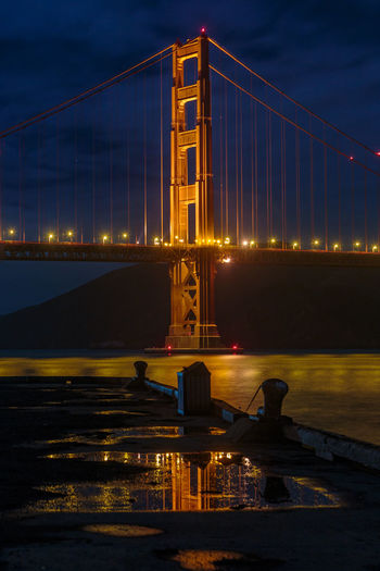 Golden Gate Bridge, San Francisco, California San Francisco Architecture Bridge - Man Made Structure Built Structure City Cityscape Cloud - Sky Connection Engineering Illuminated Night No People Outdoors Sky Suspension Bridge Transportation Travel Travel Destinations Water