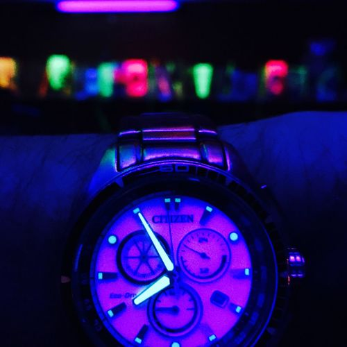 Citizenwatch Wristwatch Black Light Neon Lights Clubbing Dancing Water House Music