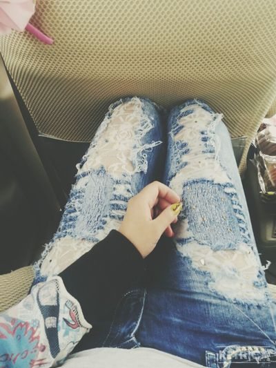 Street Fashion Hanging Out Blue Jeans Self Nail