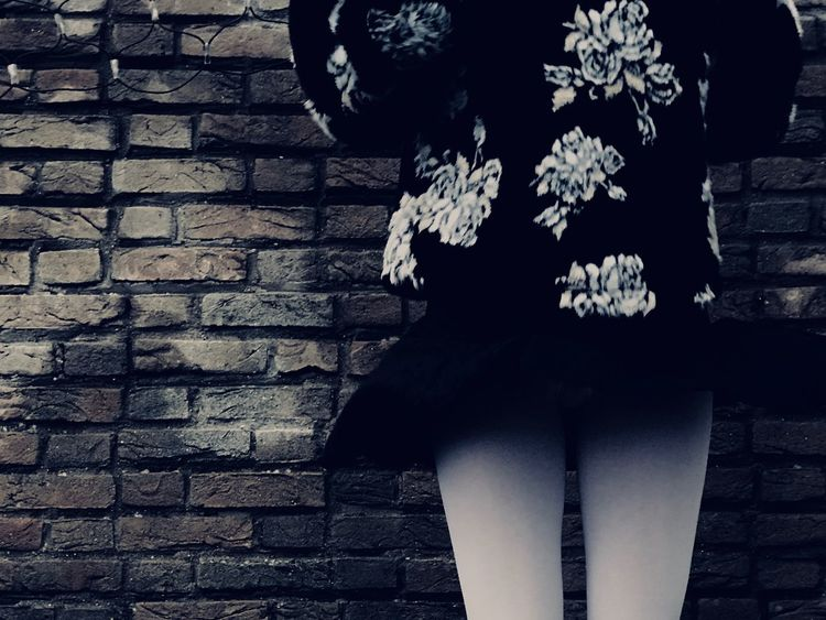 Lina Stockings White Short Skirt  Brick Wall Outdoors One Person Day Standing Low Section Close-up Flower