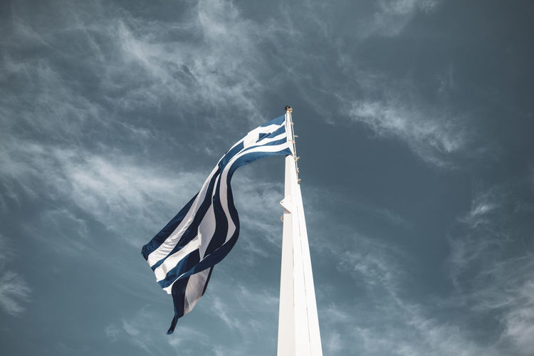 Acropolis Athens Greece Acropolis Sky Cloud - Sky Nature No People Low Angle View Flag Patriotism Day Pole Wind Textile Beauty In Nature Striped Motion Outdoors Environment Waving White Color Sailboat