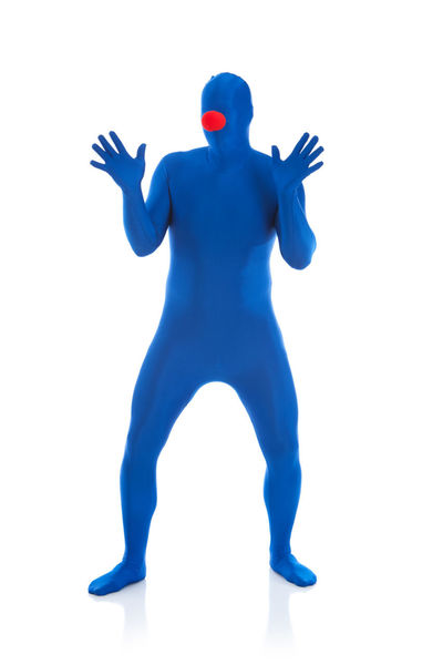 Humorous images of an anonymous male in a blue bodysuit in various poses. Anonymous Blue Man Funny Humor Isolated Man Blue Bodysuit Isolated White Background Male Morphsuit Person Spandex White Background