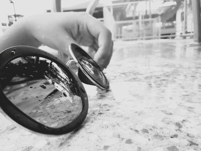 Water Cleaning Washing Day Eyesglasses Looking Travel Black & White