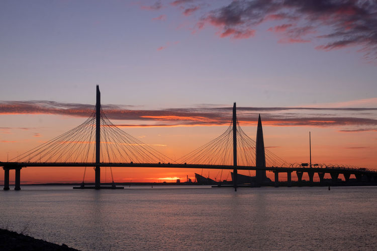 View of suspension bridge over river during sunset