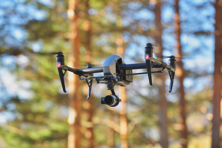 Low Angle View Of Drone Flying Against Trees In Forest