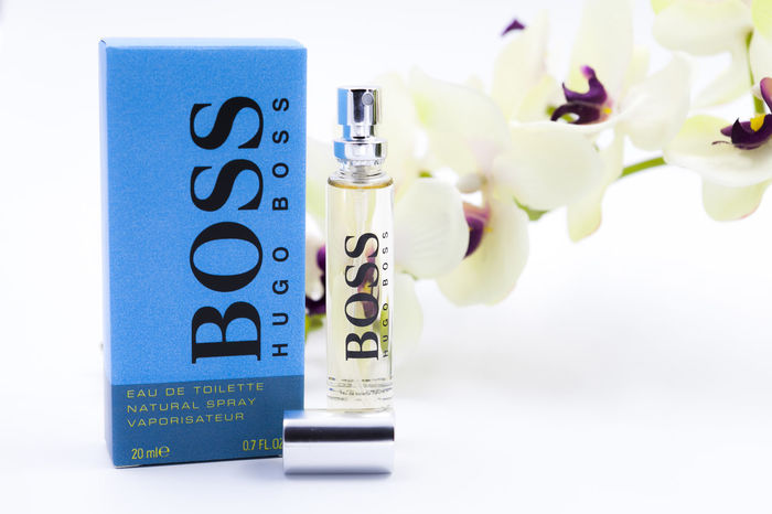 A display on wallet size Hugo Boss perfume Elégance Hugo Boss. Illustration No People Perfumecollection Simple Small Size Wallet Size