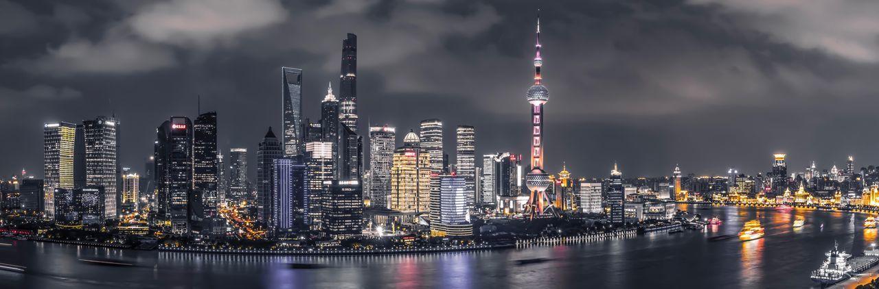 Panoramic view of illuminated shanghai  at night