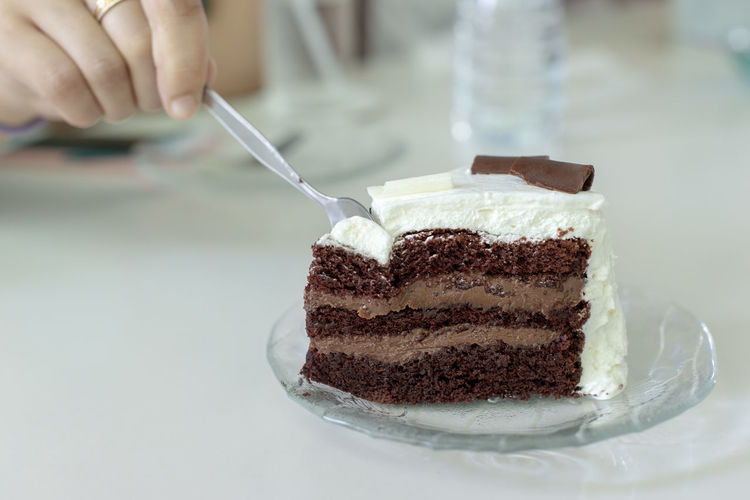 Cake Sweet Food Food Sweet Food And Drink Dessert Temptation Unhealthy Eating Freshness Ready-to-eat Indoors  Close-up Chocolate Human Hand Baked Spoon Hand Slice Of Cake Chocolate Cake