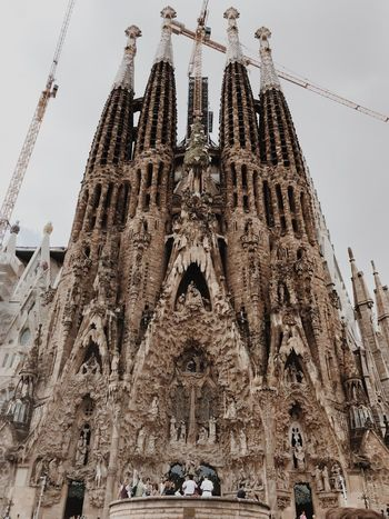 Sagrada Familia Barcelona Belief Religion Architecture Low Angle View Built Structure Sky Spirituality Place Of Worship Creativity Travel Destinations History Nature No People Representation Building Exterior Building Art And Craft The Past Gothic Style Day