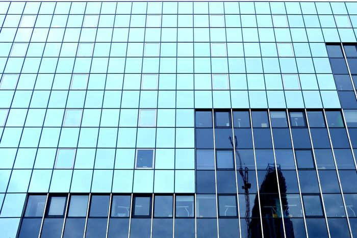 Modern City Skyscraper Full Frame Window Backgrounds Pattern Reflection Architecture Building Exterior Office Block Glass Architectural Detail Downtown High Rise Building Office Building