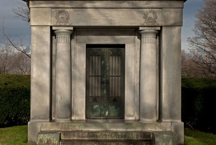 Architecture Autumn Built Structure Carving Cemetary Column Creepy Crypt Day Death Grave Hedge Historic Old Stone Stones Symmetry Winter