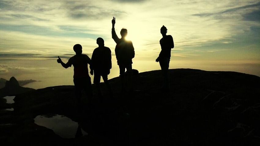 Brothers pedra da gávea Silhouette Adult Standing People Full Length Adults Only Night Sunset Only Men Togetherness Men Outdoors Adventure Vacations Landscape Mountain Friendship Sky Young Adult
