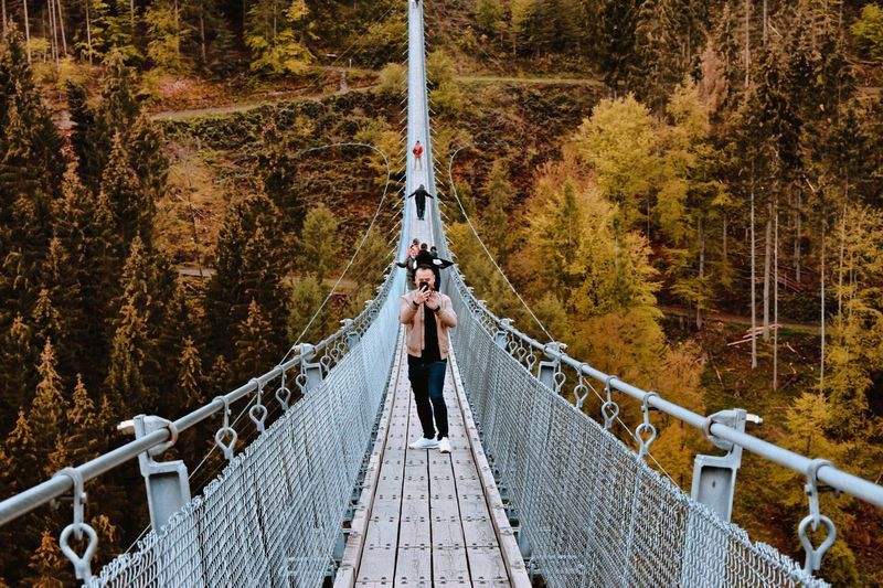 Man using smart phone while standing on footbridge in forest