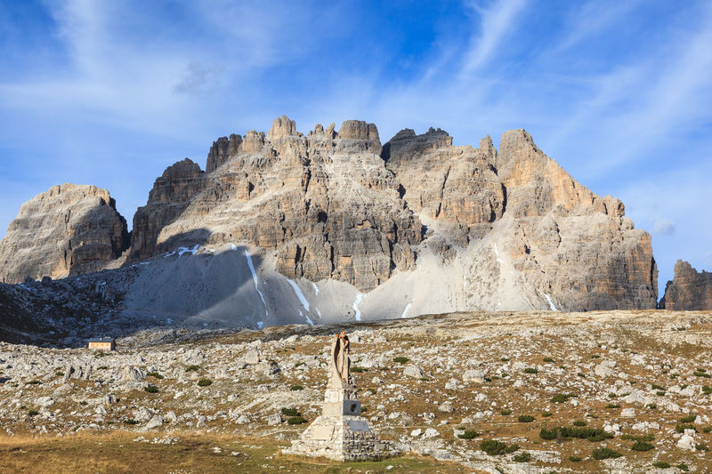 Views of war memorial at tre cime di lavaredo, in the italian dolomite alps