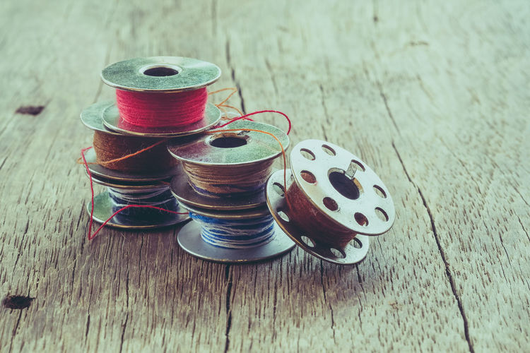 Close-up Day High Angle View Indoors  Multi Colored No People Sewing Sewing Item Spool Stack Still Life Table