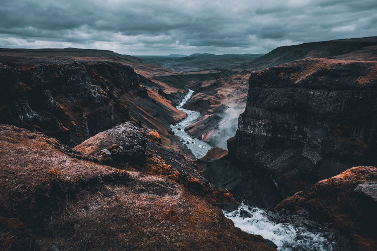 Canyon of Iceland Cloud - Sky Scenics - Nature Beauty In Nature Mountain Nature Non-urban Scene Tranquil Scene Environment No People Rock - Object Tranquility Day Solid Mountain Range Idyllic Water Outdoors Formation Flowing Water Eroded Iceland Háifoss Wanderlust Canon EyeEmNewHere