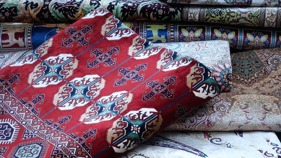 Nofilter Noedit Original Exhibition Bright Market Background Soft Red Carpets Bazaar Tapestry Design Old-fashioned Old Fashion Embroidery Textile Pattern Close-up Fabric Carpet Woolen Roll ArtWork Handmade Representation Colorful Rug Mosaic Footwear