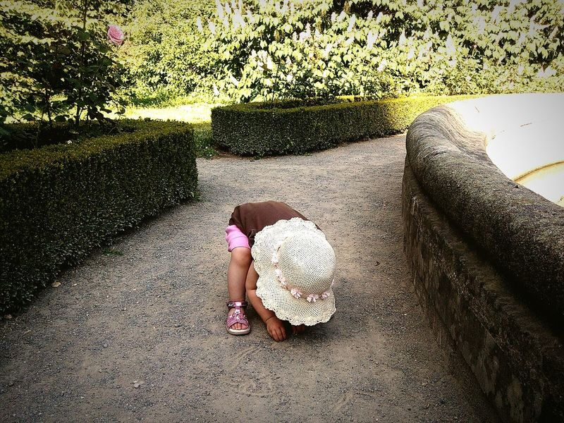 world is a playground Babygirl Little Girl Little Things Find Something...? Gardens Garden Green Greenery Green Wall World Is A Playground Toddler  Toddlerlife Toddleryears Sunny Day Hut Find Something Path Pathway Dirty Hands Playground People And Places