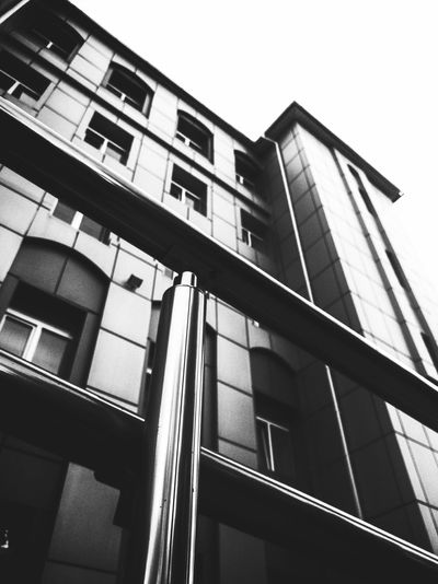 Architecture Building Exterior Built Structure Low Angle View Window Façade Modern Day City No People Black And White Photography Shadow