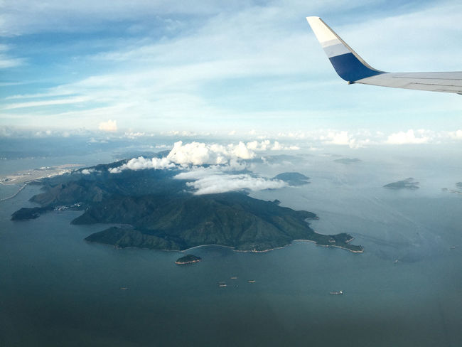 ASIA Aerial View Air Vehicle Aircraft Wing Airplane Airplane Wing Beauty In Nature Cloud - Sky Day Flying Island Journey Mode Of Transport Nature No People Ocean Outdoors Scenics Sea Sky Tranquility Transportation Water