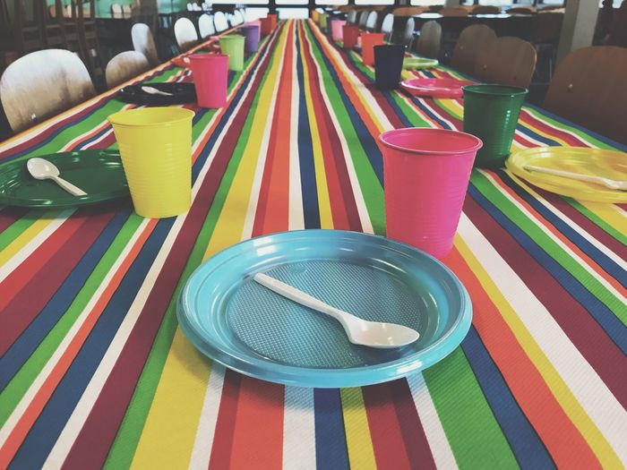 The birthday party Party Birthday Birthday Party Table Table Decoration Table Setting Table And Chairs Colorful Childhood Children Plastic Cup Plastic Dish Colors Multi Colored Plate Spoon