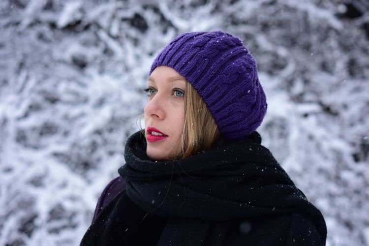 Young woman in warm clothing during winter