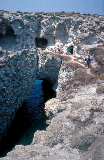 Coast of Milos 1985 1985 Agean Sea Analogue Photography Arch Beauty In Nature Cliff Hole In The Rock Leisure Activity Milos Island Nature Non-urban Scene Rock - Object Scan Scenics Sea Sky Summer Togetherness Tourism Tourist Tranquil Scene Tranquility Travel Vacations Water