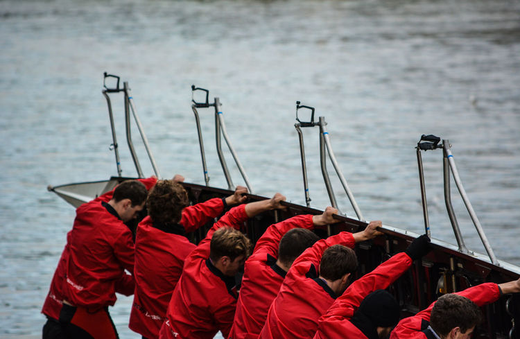 Lancaster Red Rigger Rowing Boat Preparation  Race Day Rowers University Water