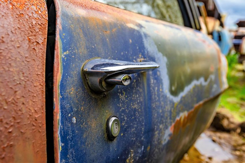 Alloy Blue Car Door Close-up Day Iron - Metal Land Vehicle Lock Metal Mode Of Transportation Motor Vehicle No People Obsolete Outdoors Protection Rusty Safety Security Silver Colored Steel Transportation Weathered