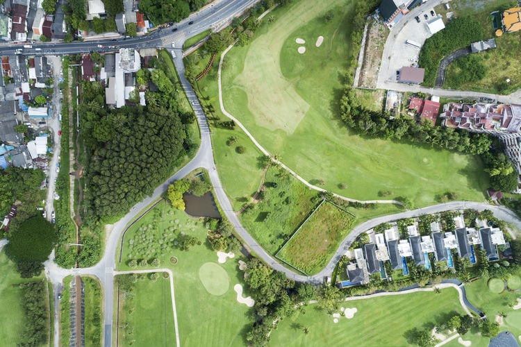 Aerial View Nature Plant Green Color Built Structure Architecture Day Sport Building Exterior Grass Field Water Tree High Angle View Environment Growth Landscape Outdoors Agriculture Land No People