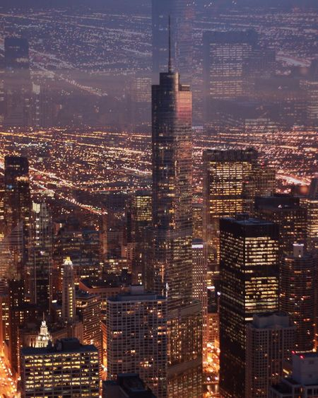 Dystopia Architecture City Built Structure Building Exterior Building Cityscape Skyscraper Office Building Exterior Night Illuminated Urban Skyline Tall - High Modern City Life Financial District  Travel Destinations