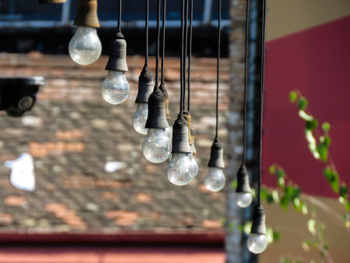 Hanging light bulbs in terrace of abandoned caffe. Belgrade Hanging Background Bulb Bulbs Cables Caffee Dust Electric Cable Electrical Equipment Glass Glass - Material Hanging Light Light Bulb Old EyeEmNewHere