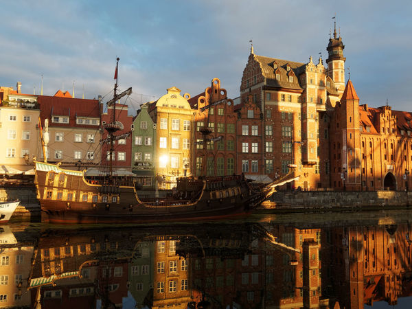 Reflection Travel Destinations City Water Arrival Ancient Outdoors Place Of Worship Architecture No People Vacations Night Sky Cityscape Zörk Gdansk (Danzig)