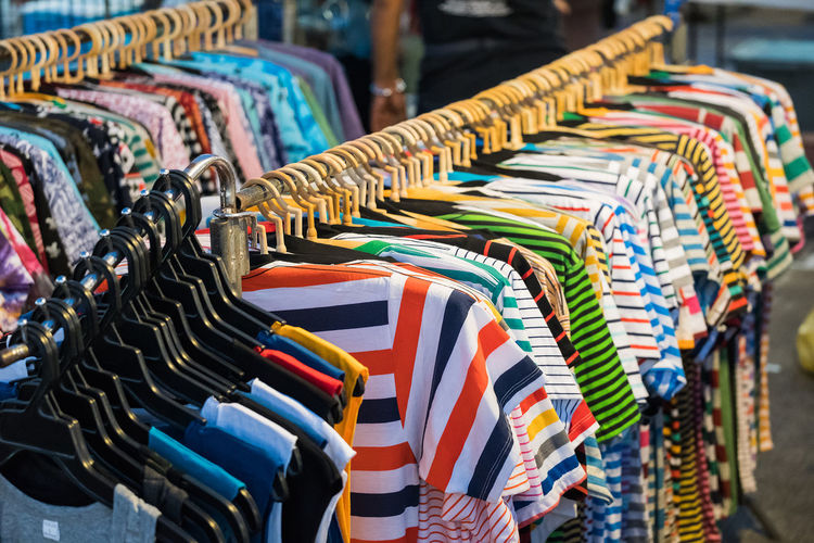 Close-up of clothes for sale in store