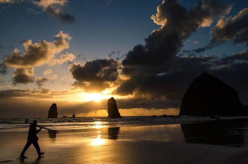 Canon beach, Oregon First Eyeem Photo Sunset Landscape Life Is A Beach Sunset Silhouettes Oregon Canon Beach