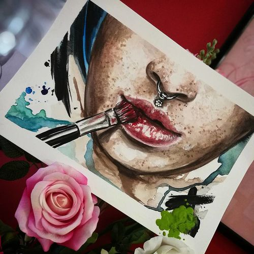 Close-up Watercolor Painting Colors Portrait Flower Artistic Photo Painting Art Lips ♡ Brushes Kissed By The Sun Human Body Part Colorful Colorpainting Drawing Sketches Sketch Art Art ArtWork Passion Lifestyles Tattooartist  Women Womanportrait Womanface
