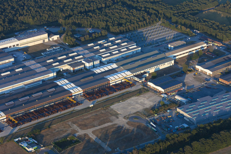 High angle view of factory