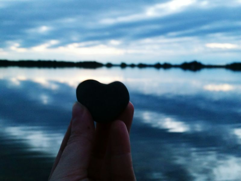 Blue Wave Heart Sundown Sky Sunset Sun Blue Silhouette Lake Reflection