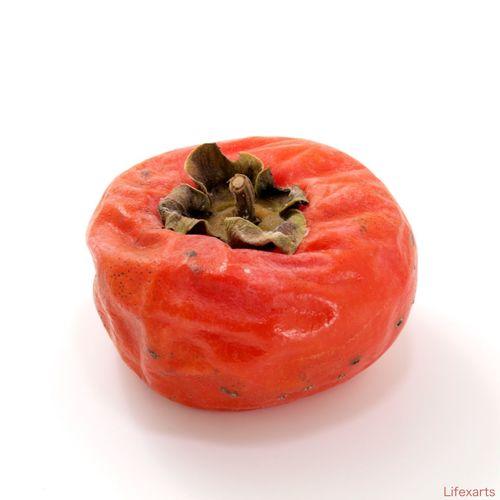 Do not despise Wrinkle Food Fruit Jam Leave Alone Orange Color Persimmon Still Life Studio Shot Sweet White Background