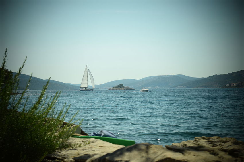 Beach Beauty In Nature Blue Clear Sky Croatia Croatiafulloflife Day Nature Nautical Vessel No People Outdoors Peaceful Place Sailboat Sailing Scenics Sea Sky Stones & Water Stones And Sea Summertime Tranquil Scene Tranquility Travel Destinations Water
