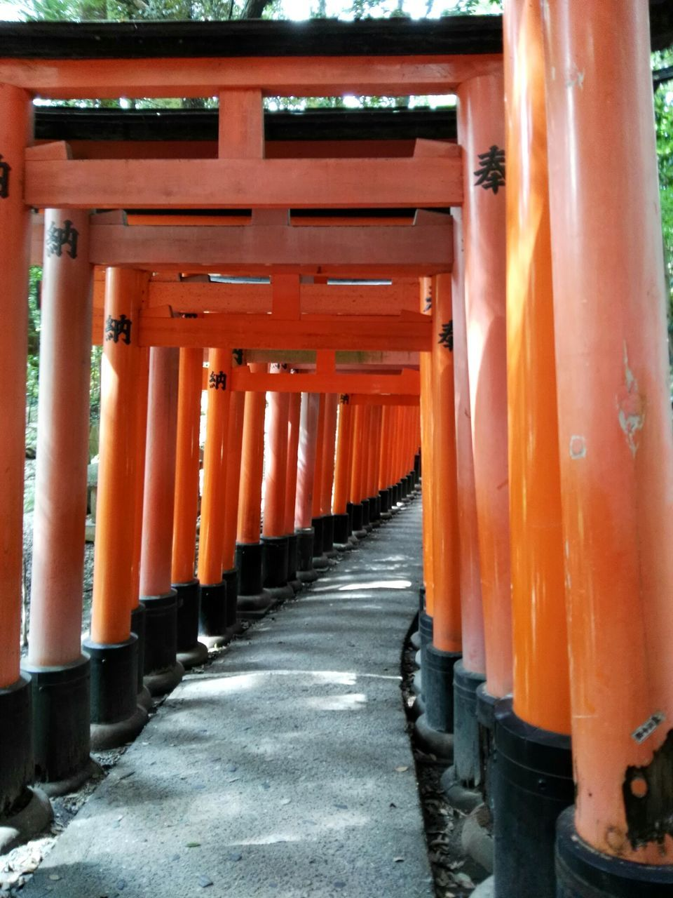 orange color, architectural column, in a row, architecture, built structure, no people, day, shrine, pillar, outdoors