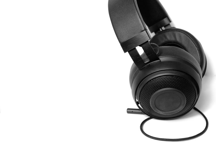 Close-up of headphones on white background