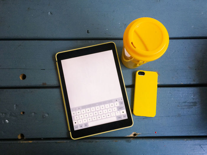 Close-up of smart phone and digital tablet