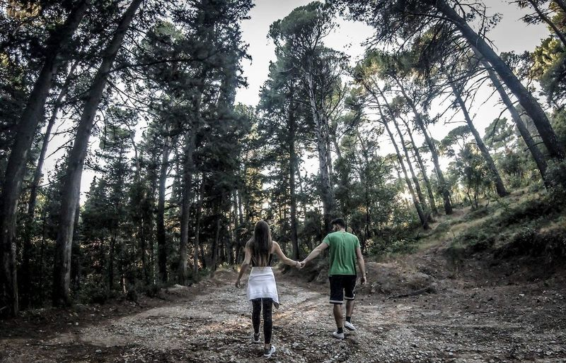 Walking around the Forest Two People Tree Rear View Full Length Walking Real People Togetherness Outdoors The Way Forward Forest Leisure Activity Women Day Nature People Adult Adults Only Sky Young Adult Forest