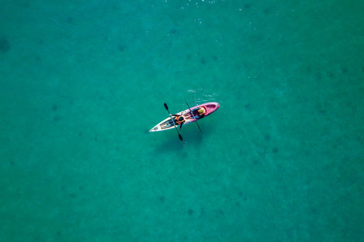 Top Down - Canoe in the middle of the sea Aerial View Beauty In Nature Bird's Eye View Day EyeEm Best Shots EyeEm Gallery High Angle View Mode Of Transport Nature Nautical Vessel No People Outdoors River Transportation Water