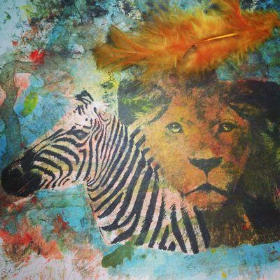 aninal arithmetic Drawing Watercolours Lion Zebra
